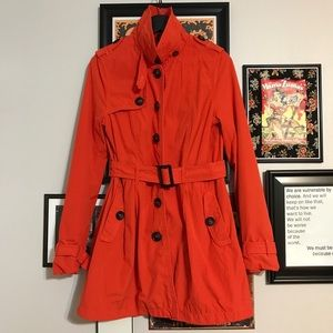 Orange Single-Breasted Belted Trench Coat H&M